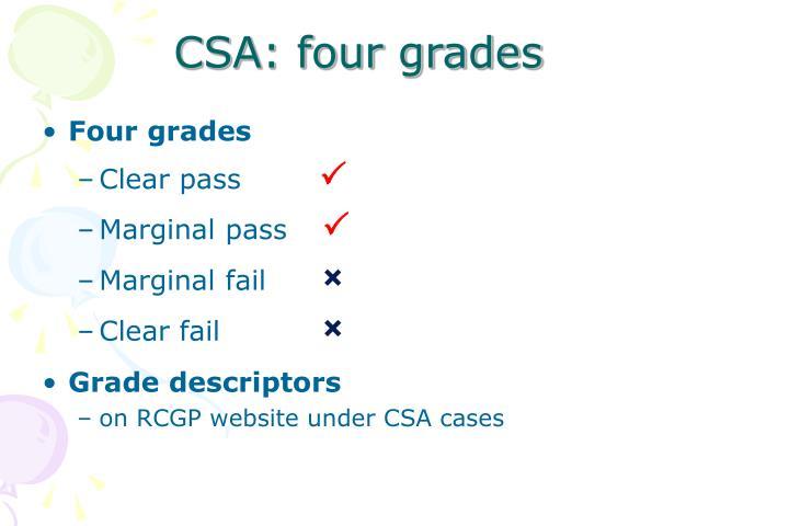 CSA: four grades