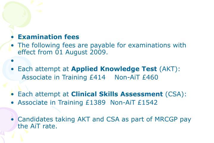 Examination fees