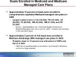duals enrolled in medicaid and medicare managed care plans