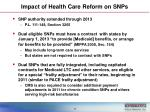 impact of health care reform on snps
