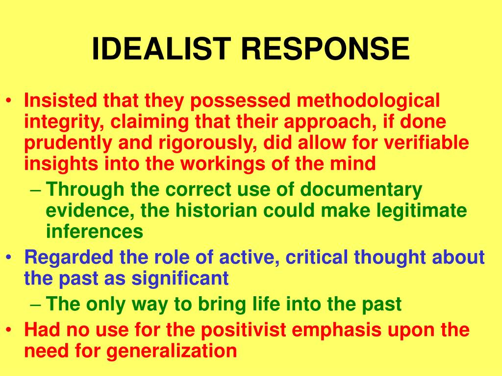 IDEALIST RESPONSE