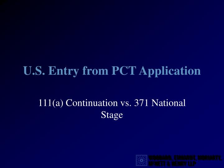 u s entry from pct application n.