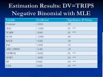estimation results dv trips negative binomial with mle