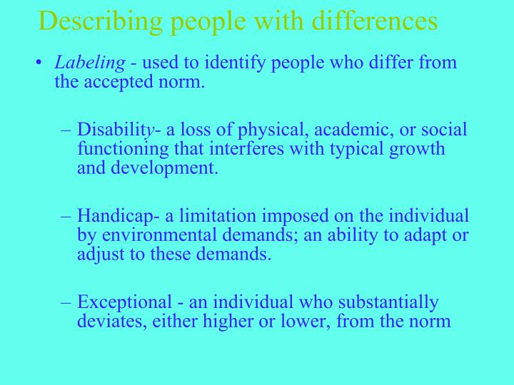 Describing people with differences