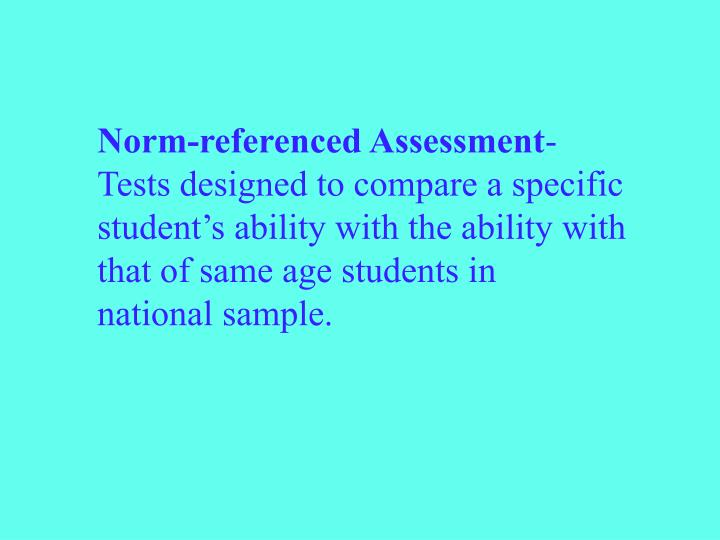 Norm-referenced Assessment