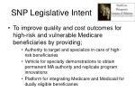 snp legislative intent