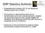 snp statutory authority