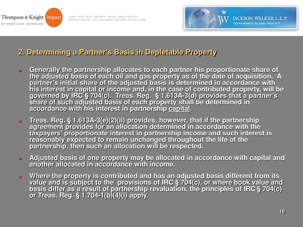 2. Determining a Partner's Basis in Depletable Property