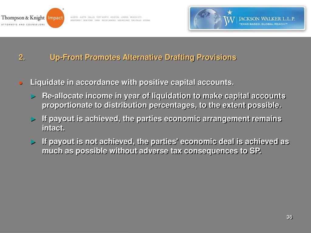 2.	Up-Front Promotes Alternative Drafting Provisions