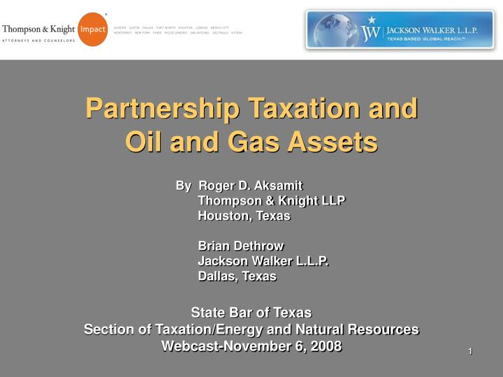 partnership taxation and oil and gas assets n.
