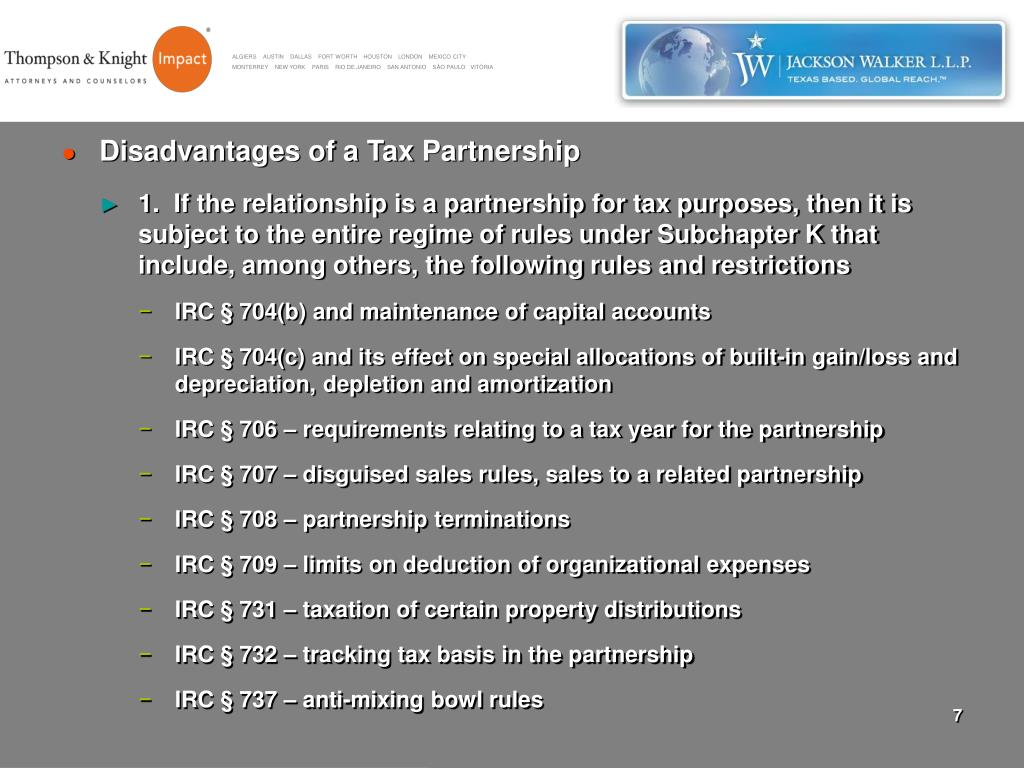 Disadvantages of a Tax Partnership