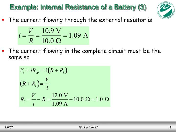 Example: Internal Resistance of a Battery (3)