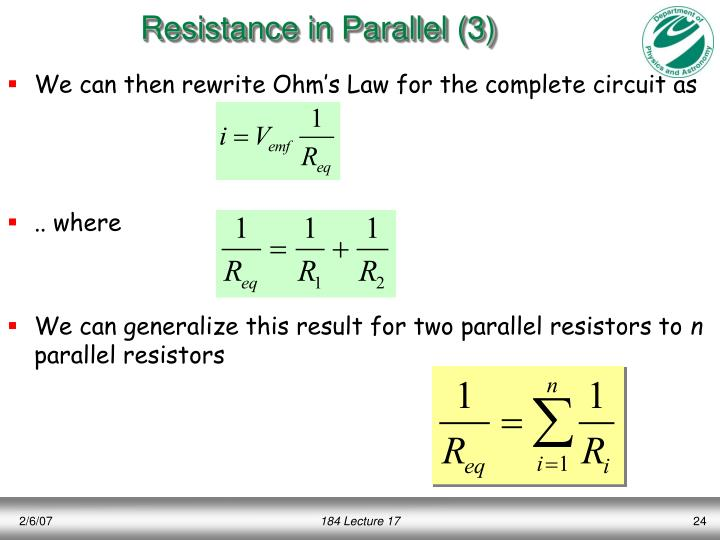 Resistance in Parallel (3)