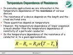 temperature dependence of resistance