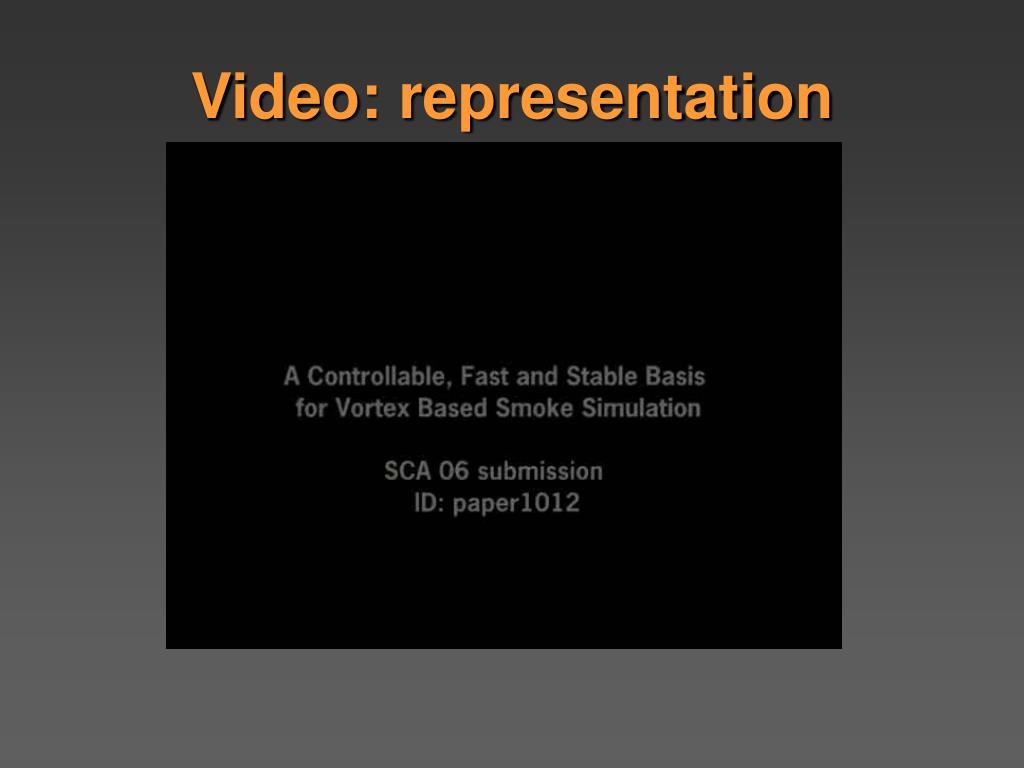 Video: representation