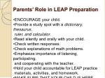 parents role in leap preparation