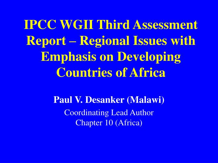 ipcc wgii third assessment report regional issues with emphasis on developing countries of africa n.