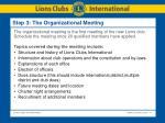 step 3 the organizational meeting