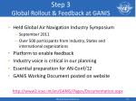 step 3 global rollout feedback at ganis