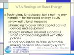 wea findings on rural energy