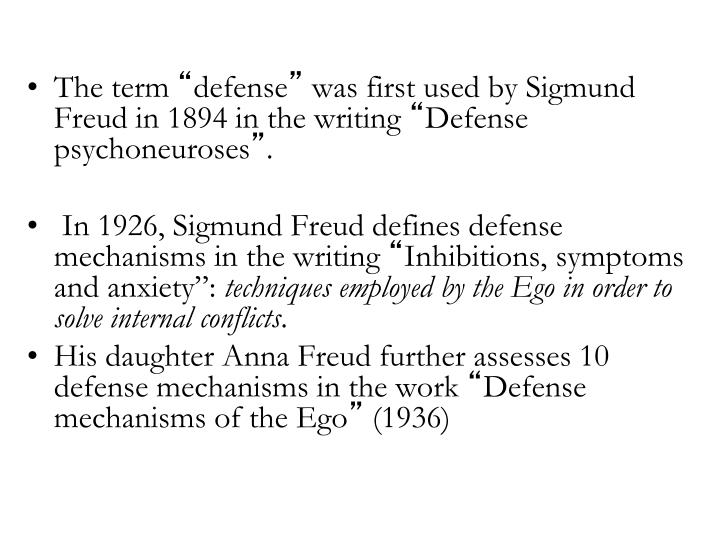 an essay on defense mechanism and anna freuds theories Defense mechanisms were first conceptualized by sigmund freud, the father of psychoanalysis, and further developed, by his daughter anna freud sigmund freud described personality as being made up of three components: the id, the ego and the superego.