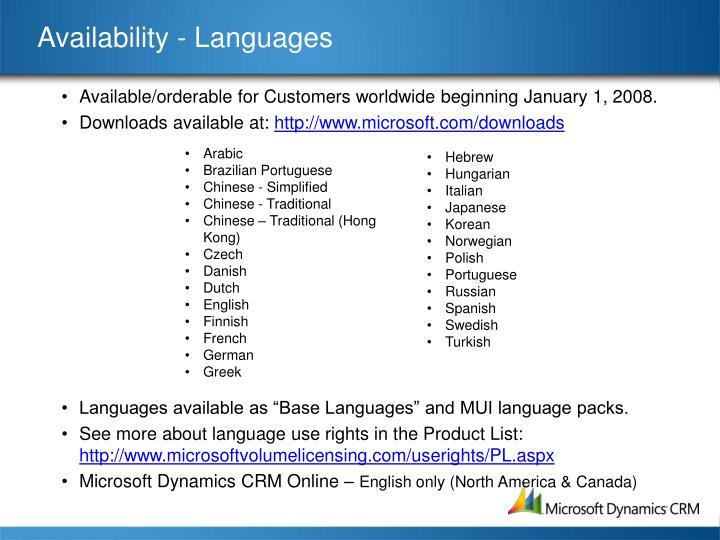 Availability - Languages