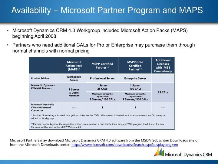 Availability – Microsoft Partner Program and MAPS