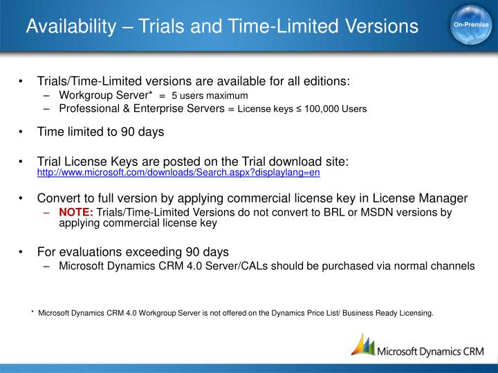 Availability – Trials and Time-Limited Versions