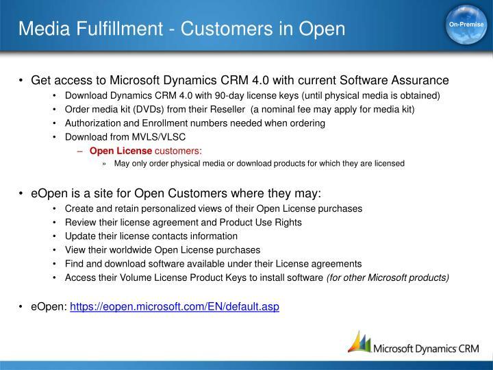Media Fulfillment - Customers in Open