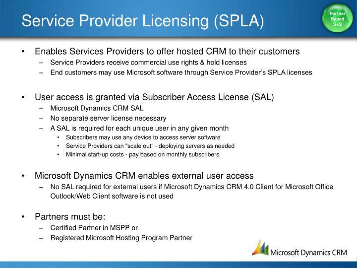 Service Provider Licensing (SPLA)