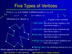 five types of vertices