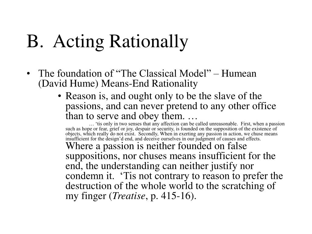B.  Acting Rationally