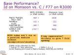 base performance id on monsoon vs c f77 on r3000