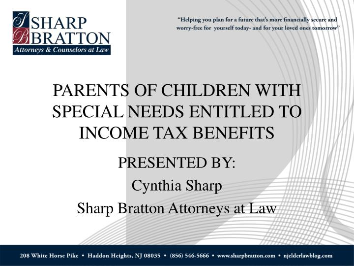 parents of children with special needs entitled to income tax benefits n.