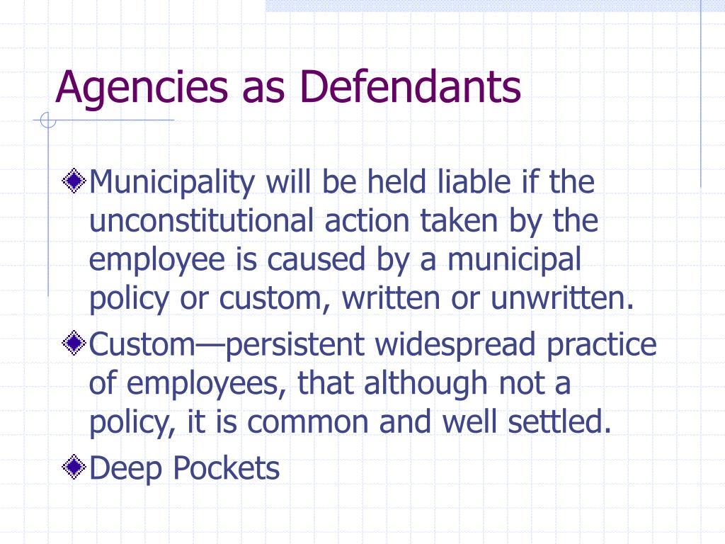 Agencies as Defendants