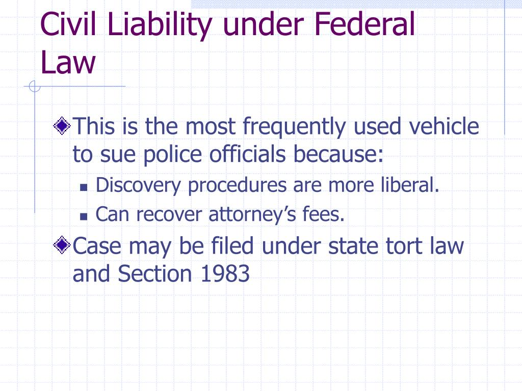 Civil Liability under Federal Law
