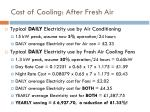 cost of cooling after fresh air
