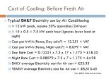 cost of cooling before fresh air