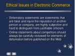 ethical issues in electronic commerce