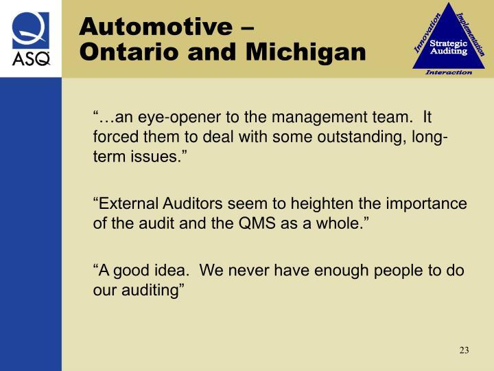 Automotive –    Ontario and Michigan