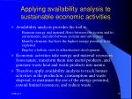 applying availability analysis to sustainable economic activities