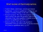 brief review of thermodynamics