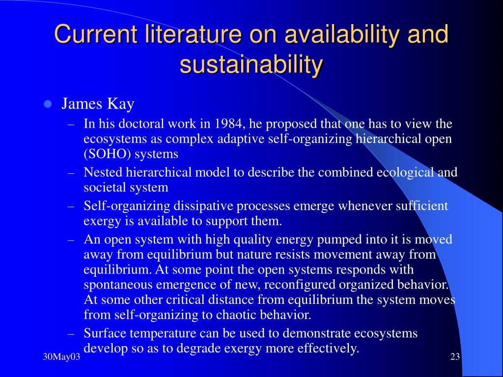 Current literature on availability and sustainability