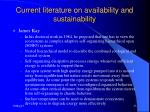 current literature on availability and sustainability23