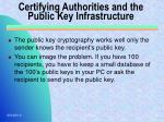 certifying authorities and the public key infrastructure