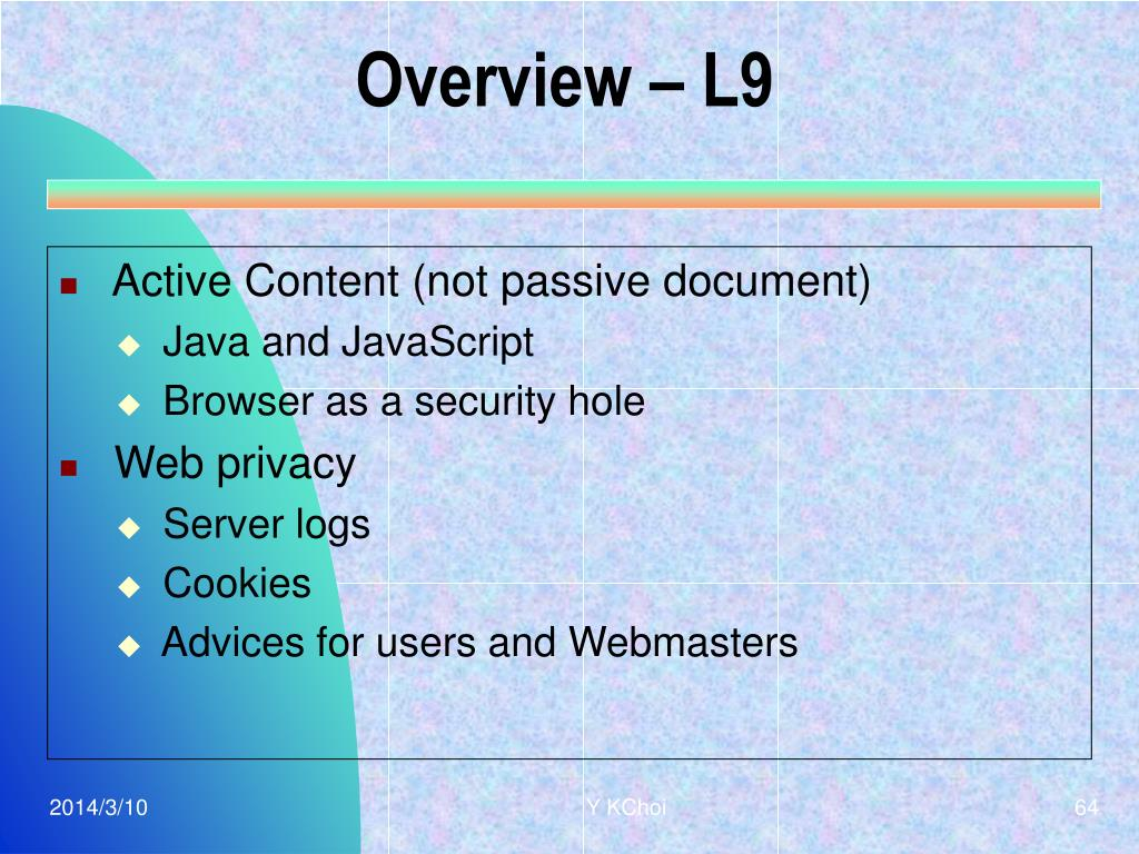 Overview – L9