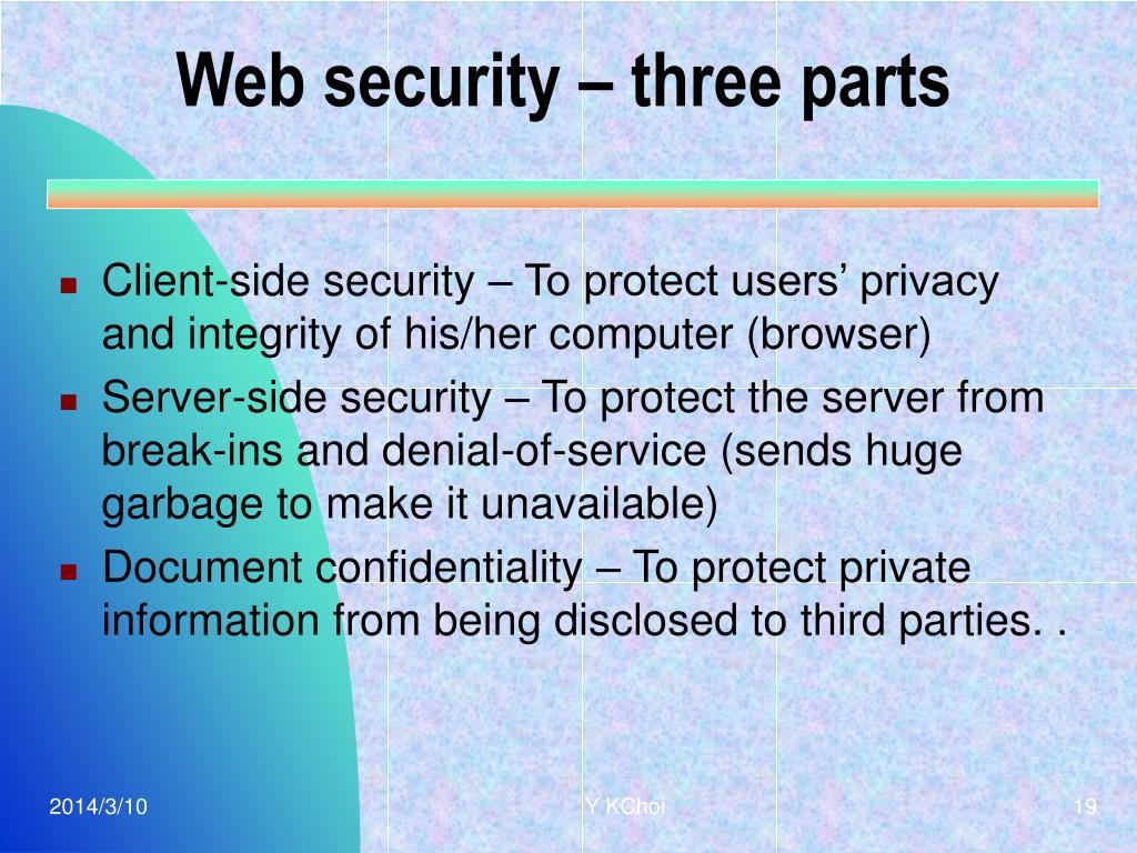 Web security – three parts