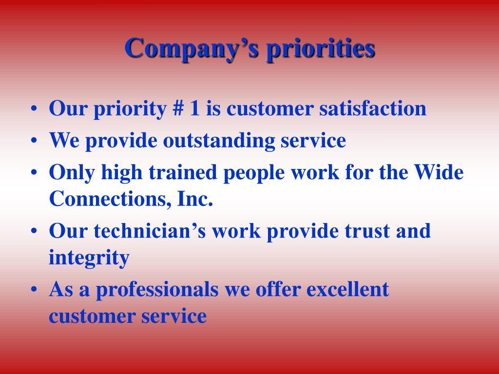 Company's priorities