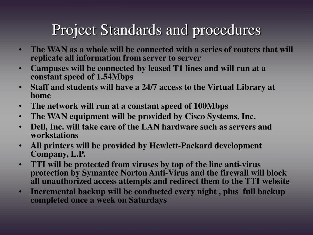 Project Standards and procedures