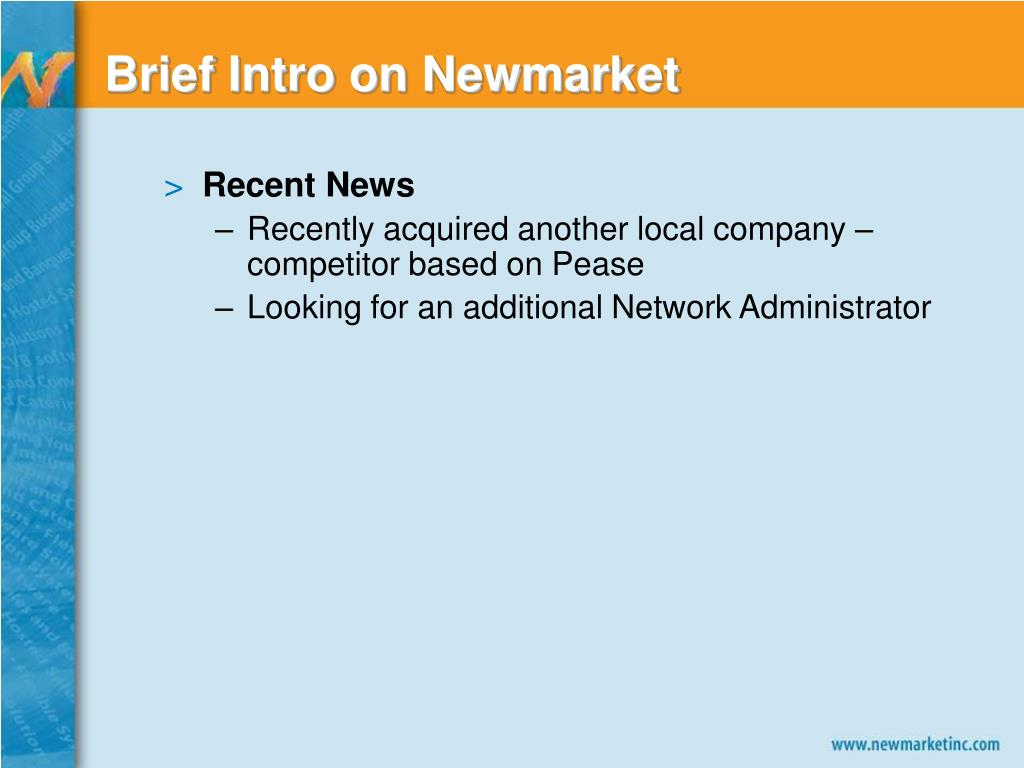 Brief Intro on Newmarket